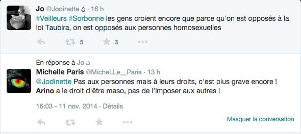 Tweet échangé le 11 novembre 2014 à propos de mon intervention aux Veilleurs de Paris (Sorbonne)