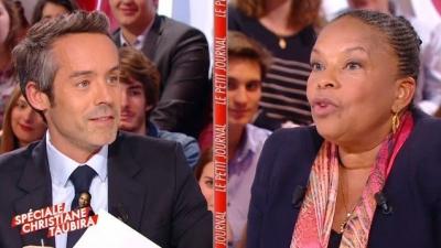 """Christiane Taubira sur le plateau de Canal+, se riant de l'inefficacité de la menace de """"démariage"""""""