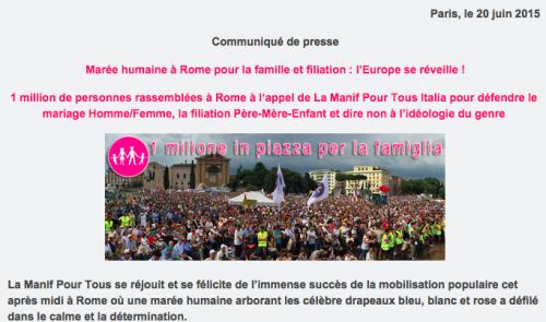 La Manif Pour Tous France s'est empressée de récupérer l'événement italien... mais vous voyez des drapeaux roses, blancs et bleus où sur cette photo?