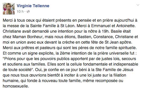 Post de Virginie Tellenne (alias Frigide Barjot) le 28 décembre 2015 sur Facebook